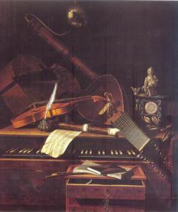 Stilleven met muziekinstrumeneten