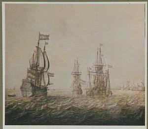 Hollandse oorlogschepen voor een onbekende haven