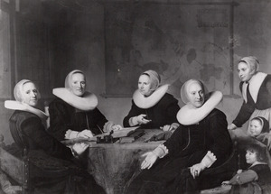 De regentessen, de gasthuismoeder en twee pupillen van het Heilige Geesthuis, Haarlem, 1642