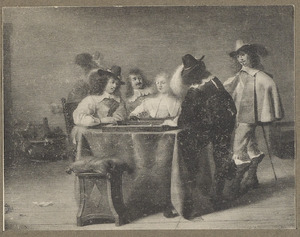 Elegant triktrakspelend gezelschap in een interieur