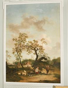 Heuvellandschap met herderspaar rustend bij een boom