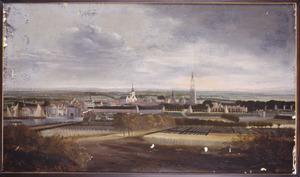 Gezicht op Amersfoort vanuit het zuidwesten, met van links naar rechts: Koppelpoort, Sint-Joriskerk, Heilige Geestgasthuis, Onze-Lieve-Vrouwekapel, Onze-Lieve-Vrouwetoren en Utrechtsepoort