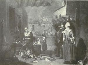 Keukeninterieur met vijf personen