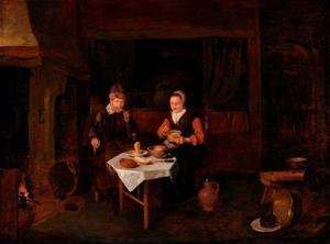 Interieur met een bejaard paar aan de maaltijd