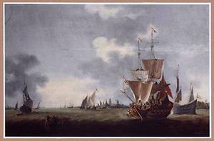Schepen op de Merwede bij Dordrecht