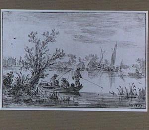 Rivierlandschap met drie hengelaars in een boot