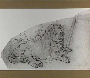 Liggende leeuw met zwaard