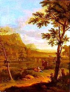 Arcadisch landschap met converserende herders