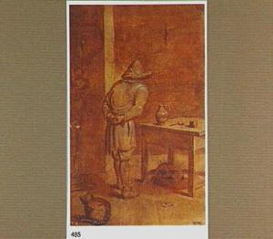 Interieur met staande man bij een tafel