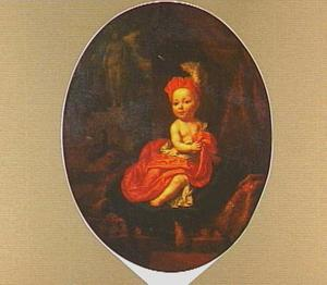 Portret van een jongetje gekleed in rode zijden draperie