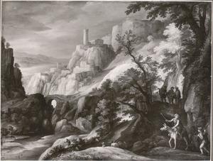 Italianiserend berglandschap met de Emmausgangers?