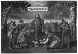 Christus als Goede Herder met de berouwvolle zondaars