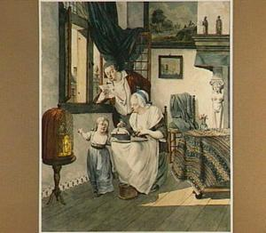 Brieflezende man, kantklossende vrouw en kind in interieur