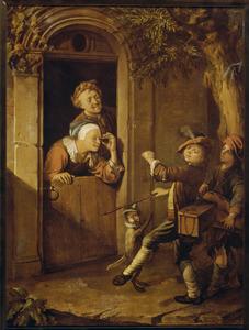 Straatmuzikantjes met twee toehoorders in een deuropening