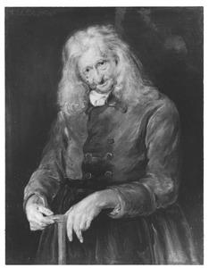 Portret van een oude man met lang, grijs haar