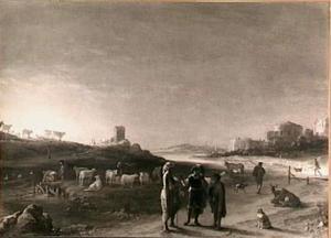 Italianiserend landschap met ongeïdentificeerde, oud-testamentaire scène
