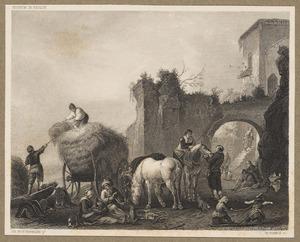 Hooiende en rustende boeren bij een vervallen stadsmuur met poort