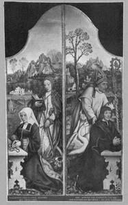 De H. Hugo met stichter (links); De H. Catharina met stichtster (rechts)