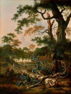 Boslandschap met boomstam, distels en figuren op een weg