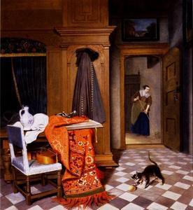 Interieur met een spelende kat en een doorkijk naar een kamer waarin een dienstmeid de vloer bezemt