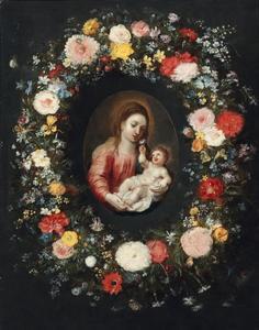 Bloemenkrans rond een Madonna met Kind
