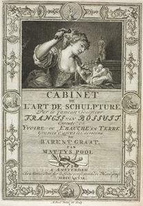 Titelprent van het Beeld-snijders kunst-kabinet met een Allegorie van de Beeldhouwkunst (pl. I)
