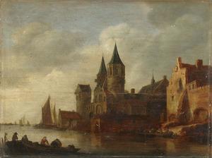 Rivierlandschap met een kasteel op de rechteroever