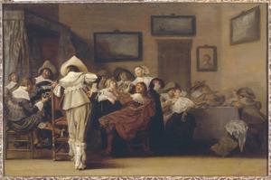 Vrolijk gezelschap, waaronder een violist, in een interieur