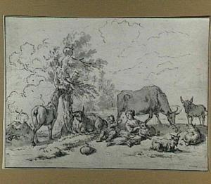 Herderin met kind, door vee omringd