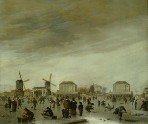 Amsterdam, ijsvermaak voor de Blokhuizen in de Amstel, gezien vanuit de stad
