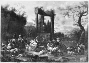 Zuidelijk landschap met herders en vee bij Romeinse ruïne