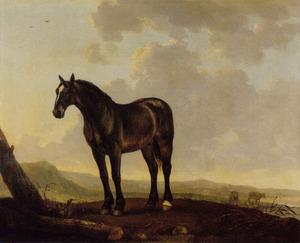 Portret van een bruin paard in een landschap