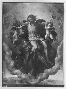 Het visioen van Ezechiël van God op zijn troon met de tetramorfs (Ezechiël 1)