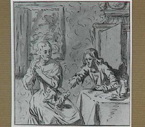 Man en vrouw met een hond, in een interieur