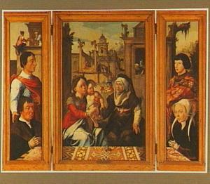 Stichter met heilige (links),  Anna-te-Drieën (midden), stichtster met heilige (rechts)