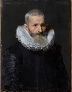 Portret van een 60-jarige man met een kraag 'à la confussion'