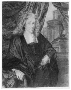 Portret van Govert van Slingelandt (1623-1690), met in de achtergrond een tempel en de Grote Kerk in Dordrecht