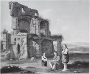 Zuidelijk landschap met herders voor een ruïne