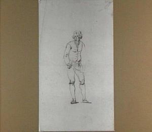 Studie van een staande man met schort en mes