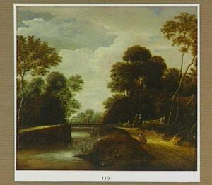 Boslandschap met brug bij een boerderij