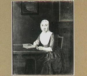 Portret van een onbekende vrouw, aan een tafel zittend