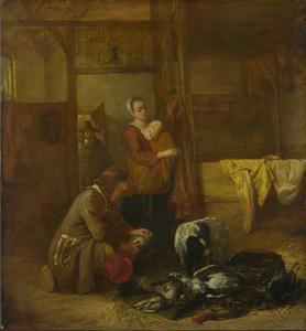 Soldaat met gevogelte en andere figuren in een stal