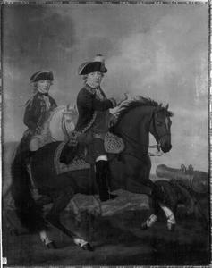Ruiterportret van Willem V van Oranje-Nassau (1748-1806) en zijn zoon Willem Frederik (1772-1843), later koning Willem I