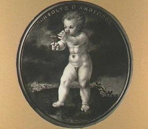 Een bellenblazende putto (voorzijde: portret van een vijfendertigjarige man)