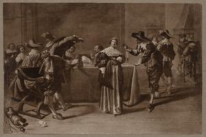 Elegant zingend, dansend en rokend gezelschap in een interieur