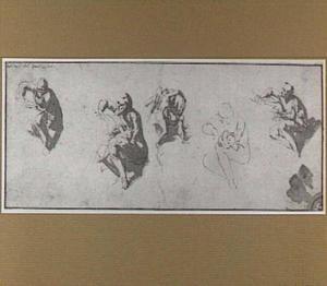 Vijf studies van Chronos die de vleugel van Amor afsnijdt