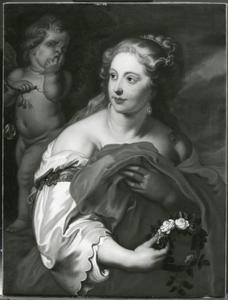 Vrouw met een bloemenkrans