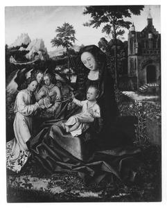 Maria met kind en engelen in een omsloten tuin