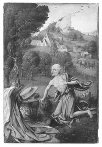 De boetvaardige H. Hieronymus in een landschap