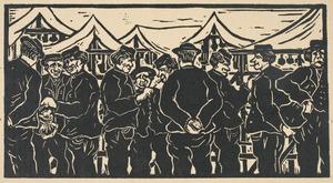 Markt teMiddelburg met pratende mannen